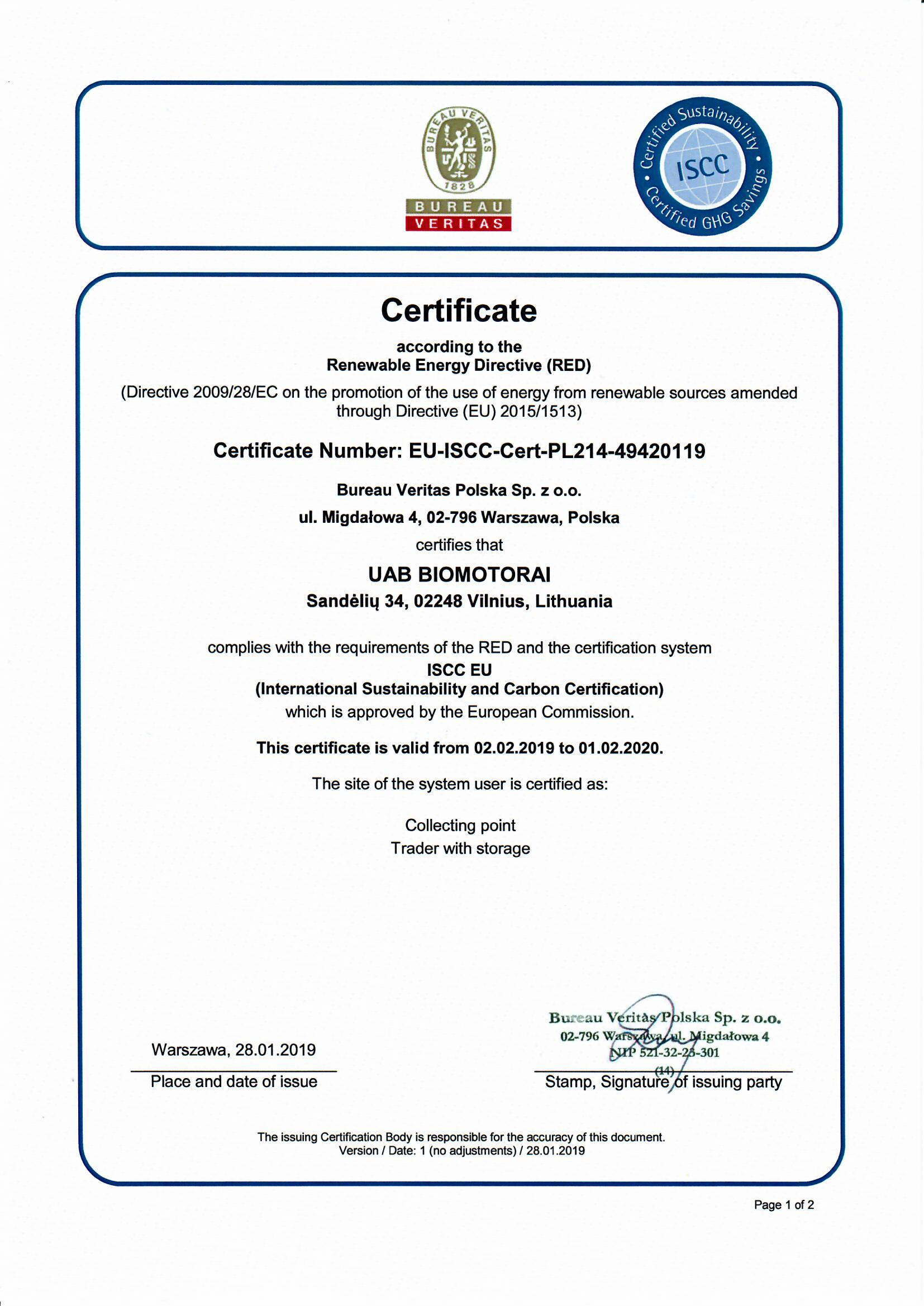 Bureau En Zo.Iscc Eu Certificate 2019